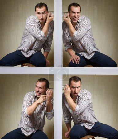 Photo pour Un homme avec un verre écoutant une conversation à travers le mur. Ensemble de 4 photos - image libre de droit