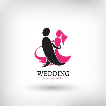 Illustration for Vector wedding logo design template, marriage couple ceremony symbol - Royalty Free Image