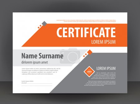Illustration for Vector modern light gray - orange certificate or diploma design print template - Royalty Free Image