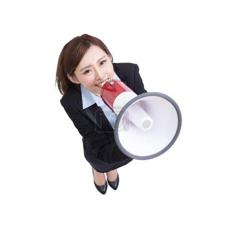 business woman talking in megaphone