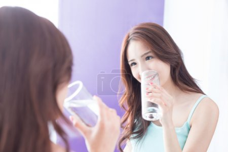 young woman drink water