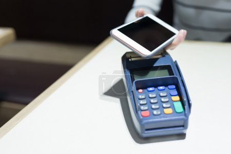 Customer paying  by cellphone