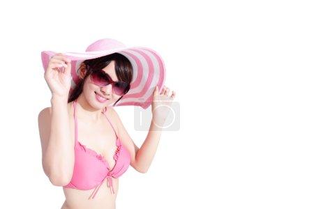 woman wearing bikini posing