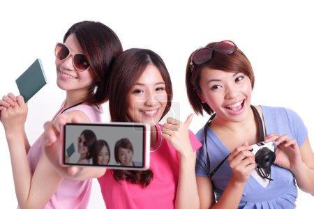 asian  teenagers taking selfie