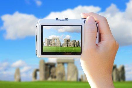 camera taking photo with Stonehenge