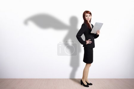 Superhero Business Woman with tablet