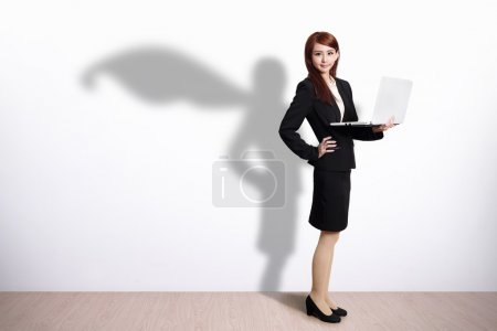 Superhero Business Woman with computer