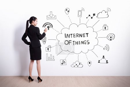 Photo for Back view of business woman writing internet of things on white wall background - Royalty Free Image