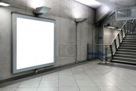 Blank billboard located in  hall