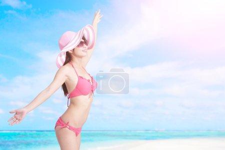 Summer and Happy bikini girl