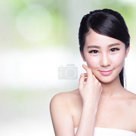 Photo for Beautiful Skin care woman Face smile to you with nature green background. asian Beauty - Royalty Free Image