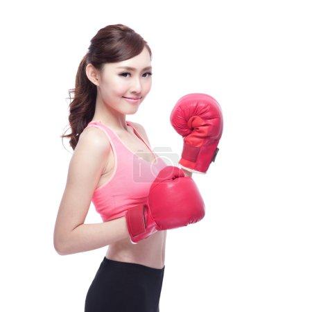Sporty woman  boxing