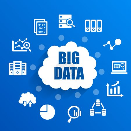 Illustration for Big Data concept with icons - Royalty Free Image
