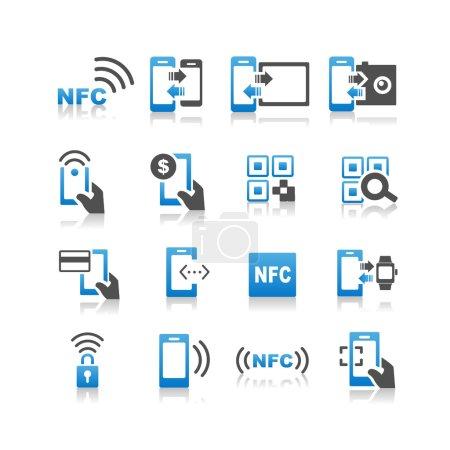 NFC technolgy icons set