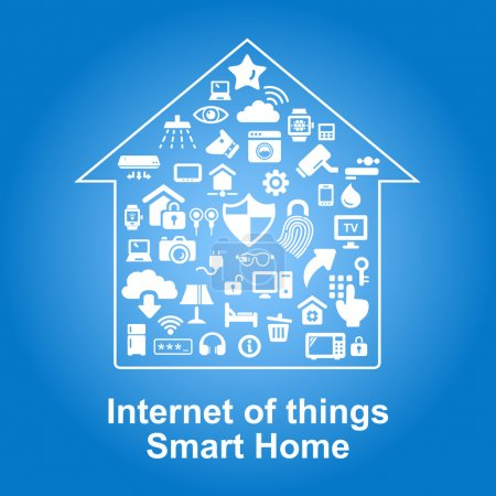 Illustration for Smart Home by internet concept - Internet of things with Home and security icons - Royalty Free Image