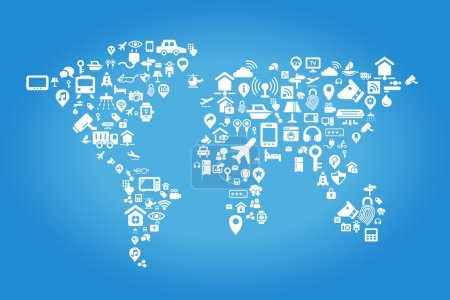 Illustration for Internet of things concept - world map made of Internet of things concept icons - Royalty Free Image