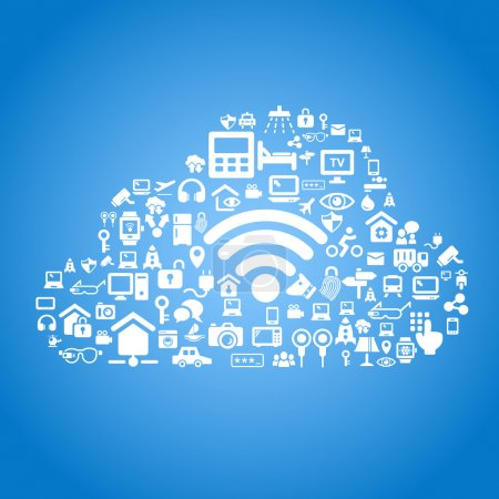 Illustration for Internet of things and cloud computing concept - cloud outline, cloud computing and Internet of things concept icons - Royalty Free Image