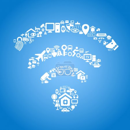 Illustration for Internet of things and cloud computing concept - wifi outline,  cloud computing and Internet of things concept, icons - Royalty Free Image