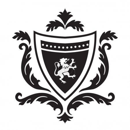 Coat of arms - shield with gryphon and floral ornament.