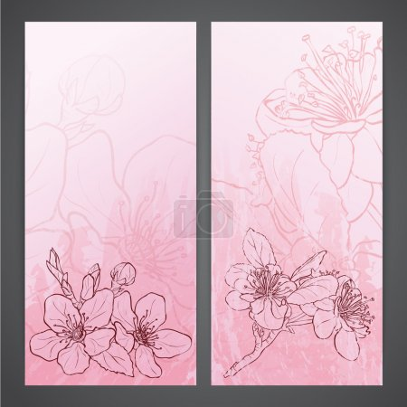 Illustration for Flayers with flowers - apple blossoms drawing. Ink style vector - Royalty Free Image