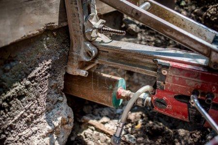 Concrete core drilling machine on construction site