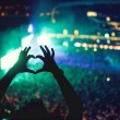 Heart shaped hands at concert, loving the artist a...