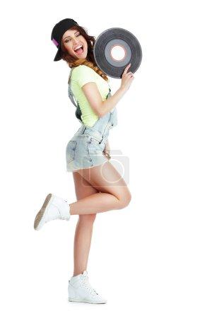 Photo pour Profil de Elated Jubilant Femme avec disque de vinyle isolé sur fond blanc - image libre de droit