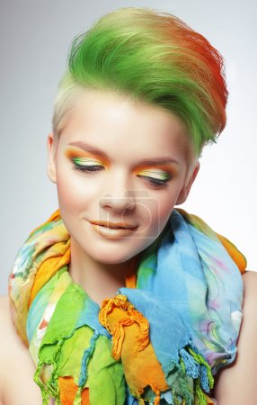 Woman with Vivid Multicolored Bob Haircut and Bright Makeup
