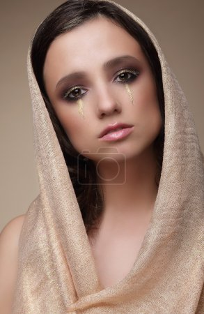 Photo for Woman in Shawl with Dramatic Stagy Makeup - Royalty Free Image