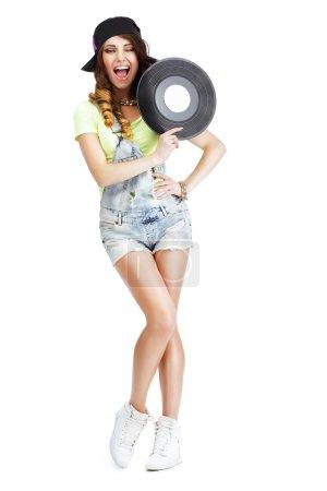 Funny Artistic Entertainer with Retro Vinyl Record