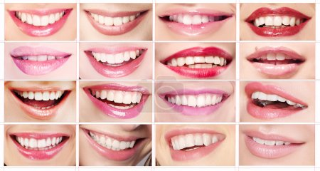 Photo for Lipsticks. Set of Women's Lips. Toothy Smiles - Royalty Free Image