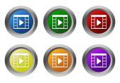 Sada zaoblené barevných tlačítek s symbol filmového