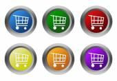Sada z kulaté barevné tlačítka se symbolem nákupního košíku