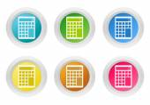 Sada zaoblené barevných tlačítek s symbol kalkulačky