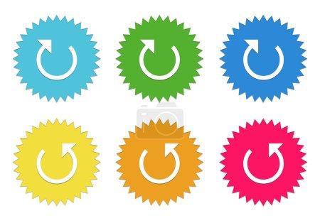 Photo pour Ensemble d'autocollants colorés icônes par flèche dans les couleurs bleus, verts, jaunes, rouges et orange - image libre de droit