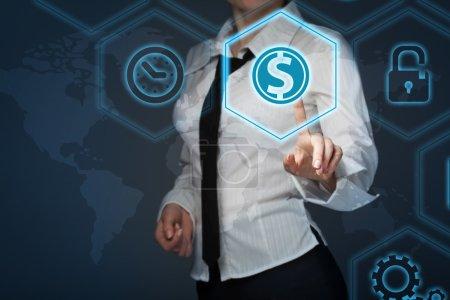 Photo pour Finances de l'entreprise et optimisation fiscale, investissement de l'entreprise, représenté par le symbole dollar . - image libre de droit