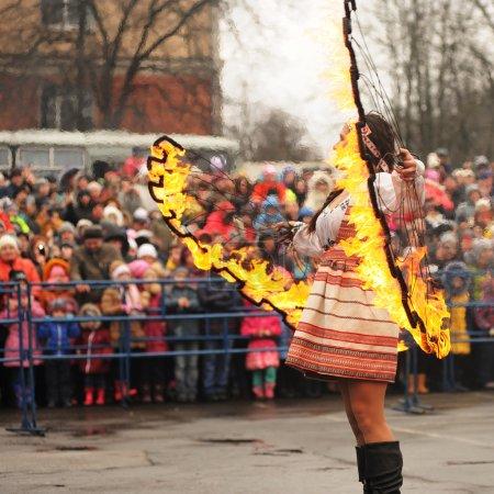 Orel, Russia - March 13, 2016: Maslenitsa, Pancake festival. Fir