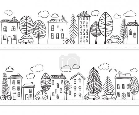 Illustration for Illustration of hand drawn houses, seamless pattern - Royalty Free Image