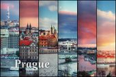 Creative collage view of the Prague architectural monuments with