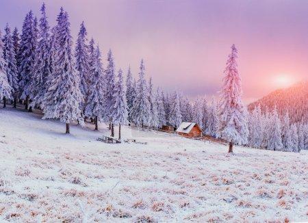 Photo pour Chalet en montagne en hiver - image libre de droit