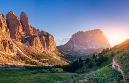 Rocky Mountains at sunset.Dolomite Alps, Italy