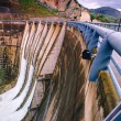 Wide view of a large dam in Italy....