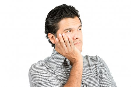 Worried Serious Thoughts Latino Man Head In Hand