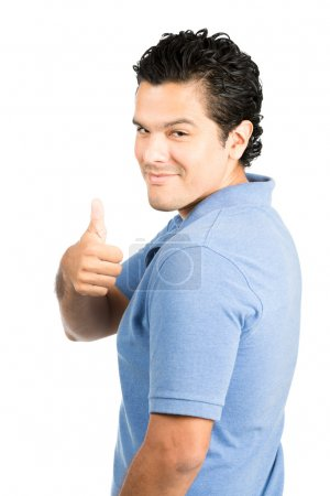 Rear Over The Shoulder Hispanic Man Thumbs Up