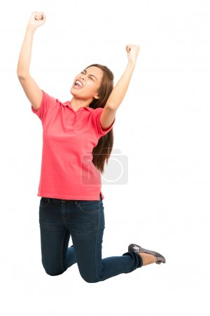 Cheering Sports Team Goal Win Asian Woman Knees