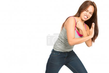 Fighting Woman Body Pushing Against Side Object H
