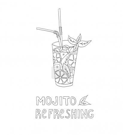 Hand drawn illustration of cocktail. MOJITO. Vecto...