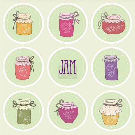 The set of hand drawn jars with home-made jams.