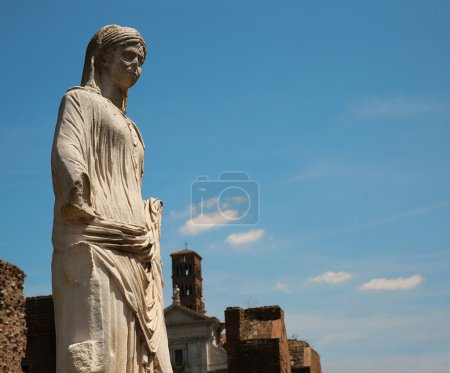 Marble statue of a woman. Rome, Italy
