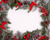 Hranice, rám z vánoční strom větví s šišky